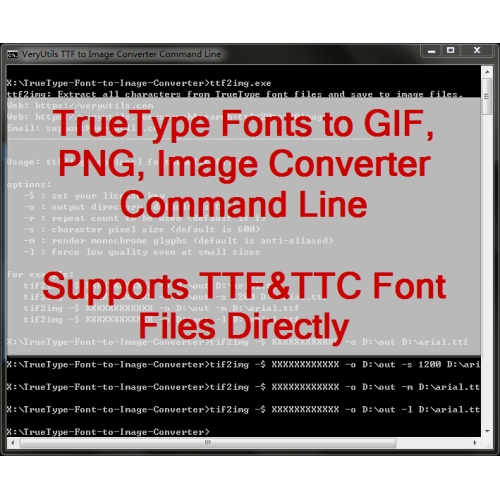 VeryUtils TTF to Image Command Line full screenshot