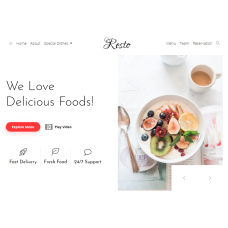 Responsive Bootstrap 4 Template for Restaurants