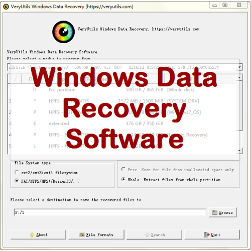 VeryUtils Windows Data Recovery full screenshot