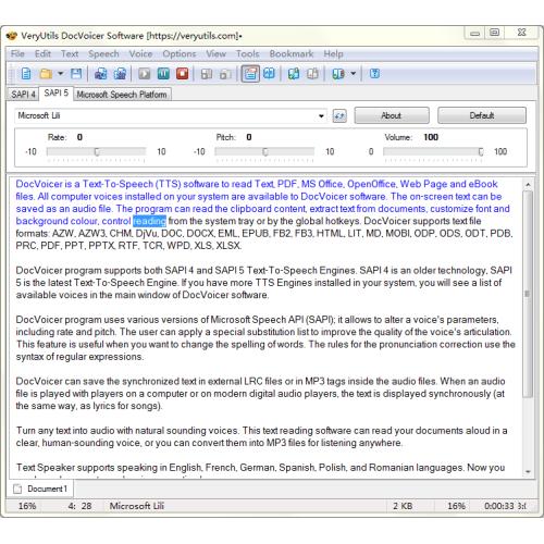 VeryUtils DocVoicer Text To Speech full screenshot